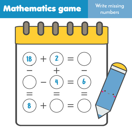 Math educational game for children. Write missing numbers and complete equations. Study subtraction and addition. Mathematics worksheet for kids