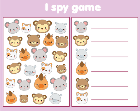 I spy game for toddlers. Find and count objects. Counting educational activity for children and kids. Cute animals faces Illustration