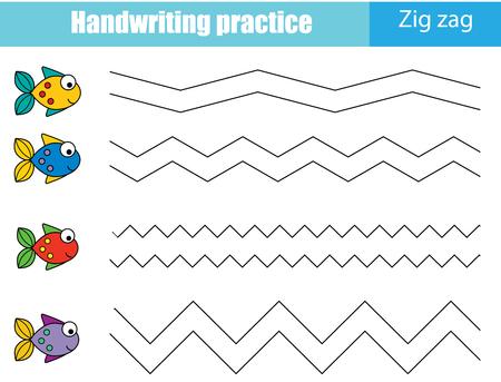 Handschrift Übungsblatt. Pädagogisches Kinderspiel, druckbares Arbeitsblatt für Kinder. Verfolgung von Zick-Zack-Linien