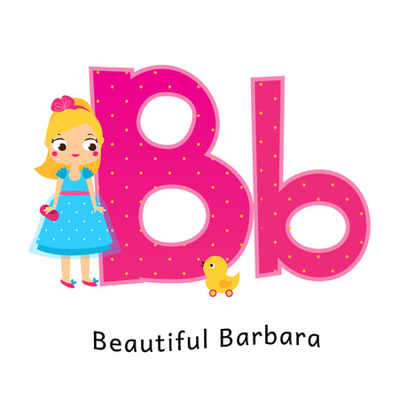 Kids alphabet. English letters with cartoon children characters. B for Beautiful Barbara girl with duck toy.
