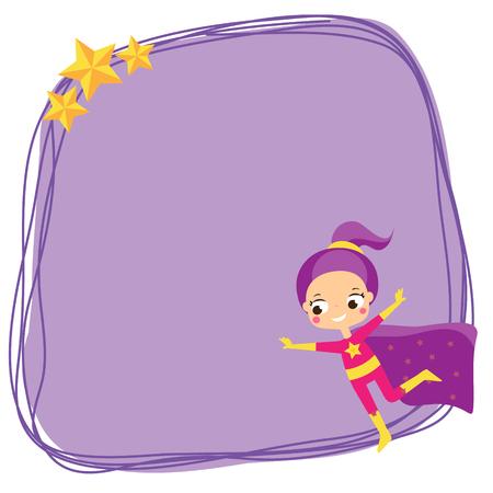 Cute girl flying in superhero costume. Blank background, banner for kids and children design.