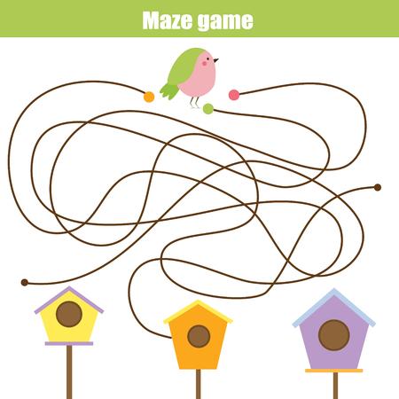 Maze children game: help the bird go through the labyrinth and find birdhouse. Kids activity sheet Illustration