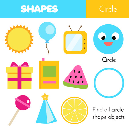 Educational children game. Learning geometric shapes for kids. Circle