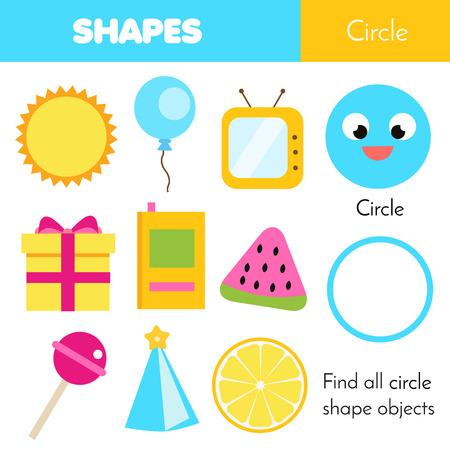 Juego educativo para niños. Aprendizaje de formas geométricas para niños. Circulo Foto de archivo - 106372429