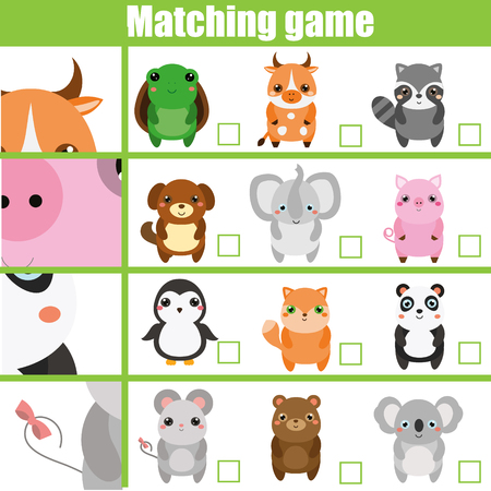 Matching game. Educational children activity with cute animals. Learning whole and parts. Find parts of animals Çizim