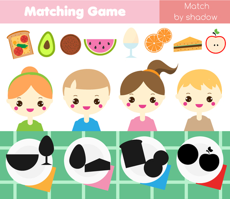 Shadow matching game for children. Find the right shadow. Kids activity with food. Put meal into plates Vektorové ilustrace