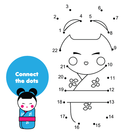 Connect the dots. Children educational game. Dot to dot by numbers for kids. Worksheet activity for toddlers with Japanese kokeshii doll in kimono Иллюстрация