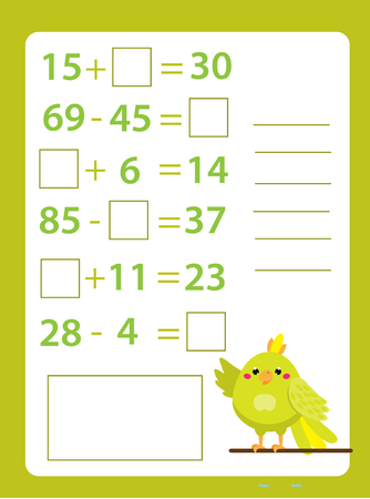 Mathematics worksheet. educational game for children. Learning counting. Addition and subtraction equations for school years kids Ilustracje wektorowe