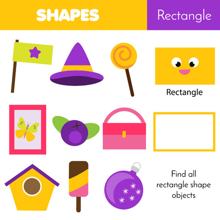 Educational children game. Learning geometric shapes for kids. Rectangle Vector Illustration
