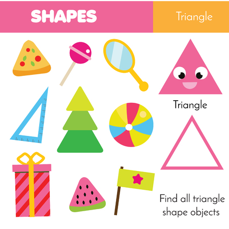 Educational children game. Learning geometric shapes for kids. Triangle Illustration