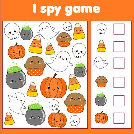 J'espionne le jeu pour les tout-petits. Trouver et compter des objets. Compter l'activité éducative pour les enfants et les enfants. Thème d'Halloween. Vecteurs