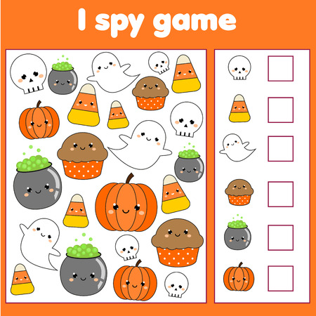 Yo espío juego para niños pequeños. Encuentra y cuenta objetos. Contando actividad educativa para niños y niños. Tema de Halloween. Ilustración de vector
