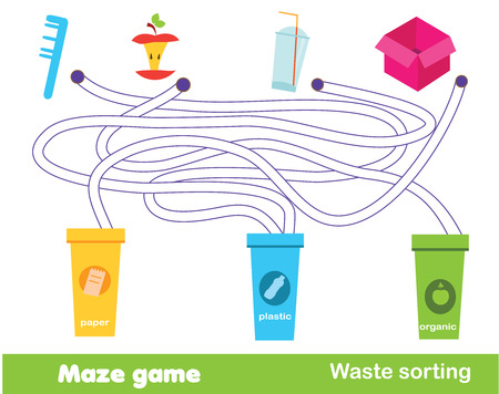 Maze game: waste sorting. Put trash into garbage bins. Ecology theme activity for children and kids.