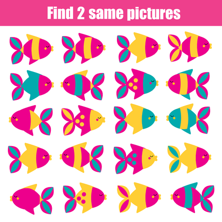 Find the same pictures children educational game. Find two identical fishes