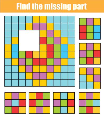 Rompecabezas para niños pequeños. Encuentra la parte que falta en la imagen. Juego educativo para niños con patrón abstracto.