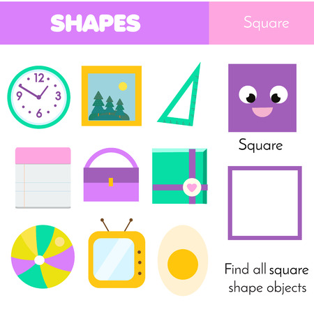 Educational children game. Learning geometric shapes for kids. Square Illusztráció