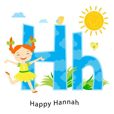 Alfabeto per bambini. Lettere inglesi con personaggi dei bambini dei cartoni animati. H per Happy Hanna. La ragazza di risata gode del sole e dell'estate