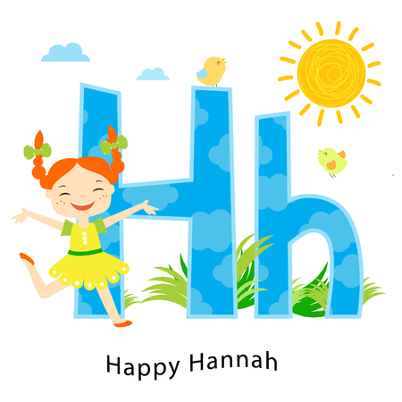 Kids alphabet. English letters with cartoon children characters. H for Happy Hanna. Laughing girl enjoy sun and summer