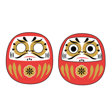 Japanese Daruma Dolls with and without eyes. Traditional red mascot for asian new Year holidays Vectores