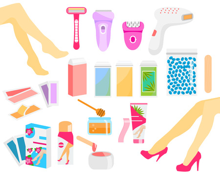 Epilation and hair removal tools. Epilator, wax, razor, stripes, cream and other methods. Colorful vector icons Archivio Fotografico - 112000220
