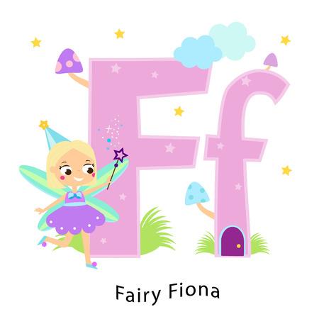 Alphabet pour enfants. Lettres anglaises avec des personnages de dessins animés pour enfants. F pour Fée Fiona. Fille en costume de conte de fées mignon fantaisie Vecteurs
