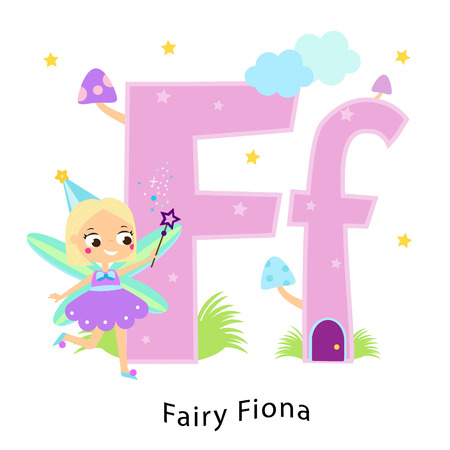 Kids alphabet. English letters with cartoon children characters. F for Fairy Fiona. Girl in fantasy cute fairy tale costume