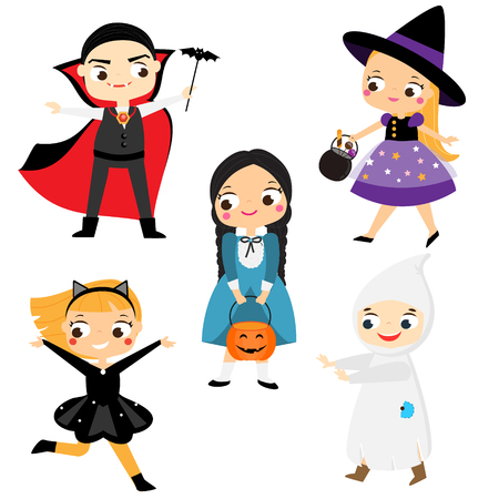 Halloween kids. Cartoon children in party costumes. Witch, vampire, ghost, cat and other Ilustração