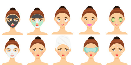 Skin care routine. Woman making facial mask, eye patch, lips patch and other beauty face and hair treatment