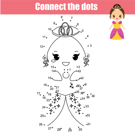 Connect the dots children educational drawing game. Dot to dot by numbers game for kids. Princess theme printable activity for girls
