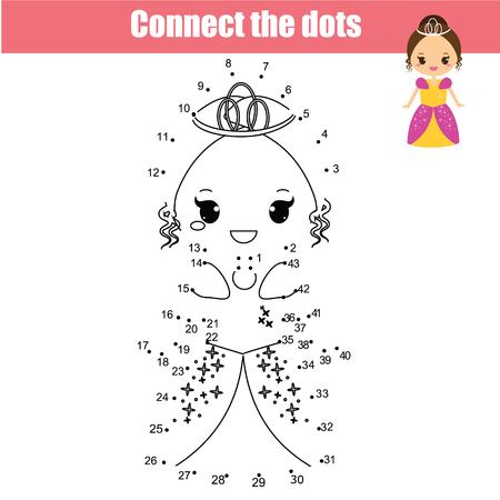 Reliez les points jeu de dessin éducatif pour enfants. Jeu de point à point par numéros pour les enfants. Activité imprimable sur le thème de la princesse pour les filles