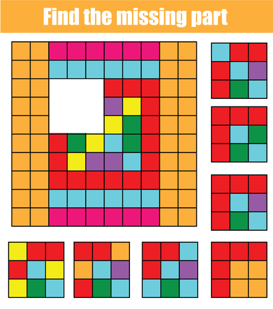 Puzzle for toddlers. Find the missing part of picture. Educational children game with abstract pattern. Banque d'images - 114083843