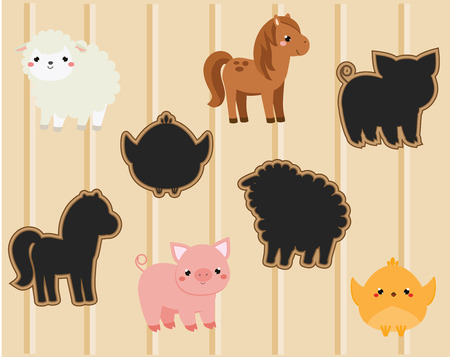 Shadow matching game. Activity with cute farm animals for kids, toddlers and children Vector Illustration