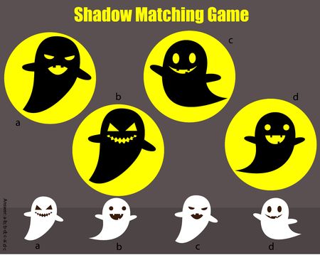 Shadow matching game for children. Find the right shadow for ghosts. Halloween theme activity for kids