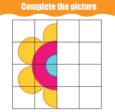 Completa el juego educativo infantil de imágenes. Niños pequeños imprimibles, hoja de actividades para niños con flor simple. Aprendiendo dibujo de simetría. Ilustración de vector