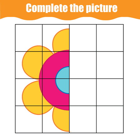 Complete the picture educational children game. Printable toddlers, kids activity sheet with simple flower. Learning symmetry drawing. Vector Illustratie