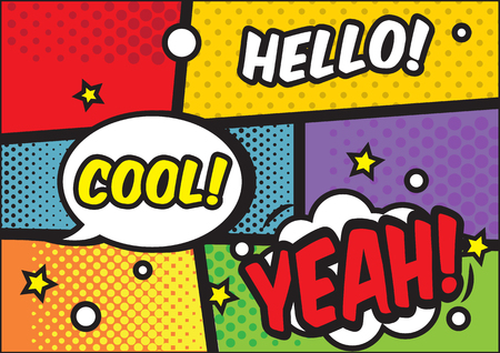 Comic book page with speech bubbles and text hello, yeah, cool. Colorful pop art vector background design template for advetisement 스톡 콘텐츠 - 111586326