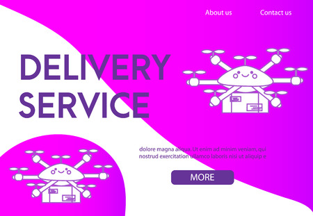 Landing page design template for delivery service. Flying drone delivering post boxes and mail