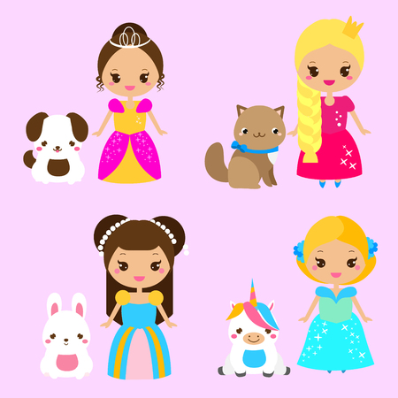 Cute princesses with lovely pets. Girls and dog, cat, rabbit, unicorn. Vector illustration in kawaii style Illustration