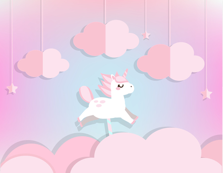 Cute fairy unicorn flying in pink clouds and stars in soft blue sky. Background in paper cut, paper craft style. Template for baby, kids and nursery design, invitations, banners