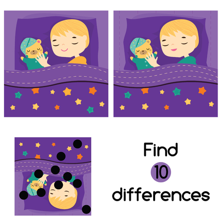 Find the differences educational children game with answer. Kids activity sheet. Boy sleeping in bed with teddy bear 일러스트
