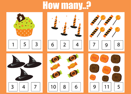 Counting educational activity for children and kids. Halloween theme mathematics worksheet Ilustrace