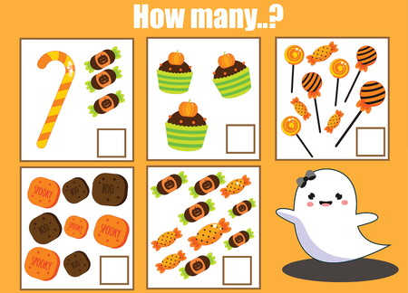Counting educational activity for children and kids. Halloween theme mathematics game for toddlers. How many objects addition worksheet