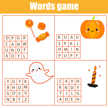 Educational game for children. Word search puzzle kids activity. Halloween theme learning vocabulary.