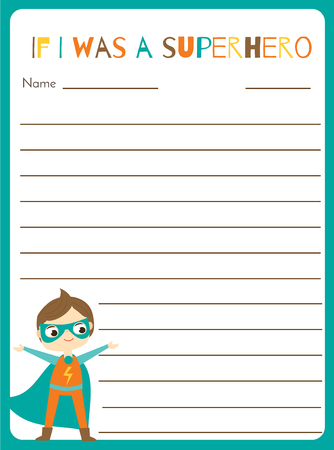 Writing prompt for kids blank. Educational children page. Develop fantasy and writing stories skills. Printable sheet with superhero boy