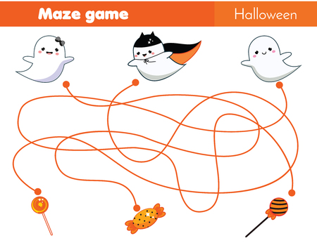 Maze game. Help ghosts find sweets. Halloween Activity for children, toddlers and kids Illustration