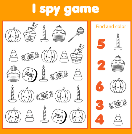 I spy game for toddlers. Find and count objects. Counting educational activity for children and kids. Halloween theme. Иллюстрация