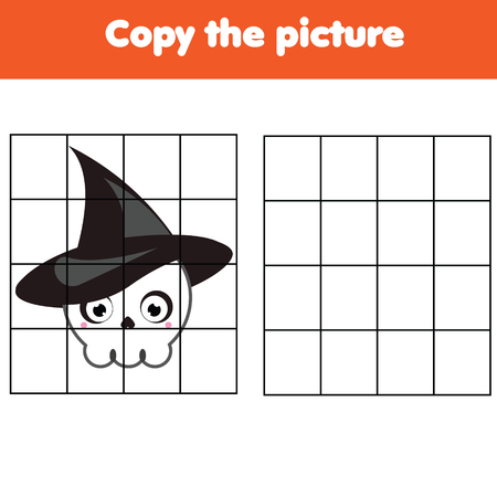 Grid copy game. Complete the picture. Printable kids activity sheet with Halloween skull.