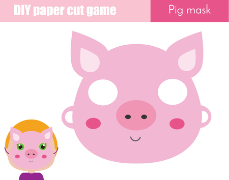 DIY children educational creative game. Make an animal party mask with scissors. paper pig face mask for kids printable sheet