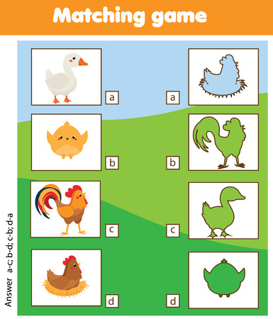 Silhouette matching children educational game. Match farm birds with shadows. Activity for pre shool years kids and toddlers