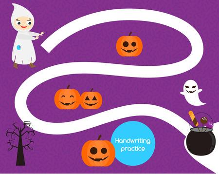 Halloween handwriting practice sheet. Educ ational children game, printable worksheet for kids. Help boy find candies Illustration